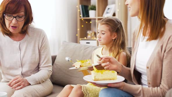 Cover Image for Mother, Daughter and Grandmother Eating Cake