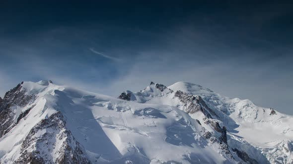 mont blanc alps france mountains snow peaks ski timelapse