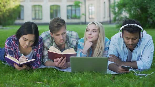 Thumbnail for Multi-Ethnic Men and Women Doing Homework on Grass on Campus, Higher Education