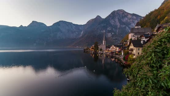 Thumbnail for Sunrise View of Hallstatt Mountain Village with Hallstatter Lake, Austria