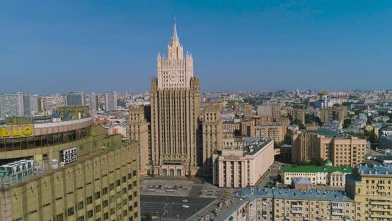 """Thumbnail for Downtown Moscow. View of the """"Foreign Ministry"""" Ministry of Foreign Affairs."""