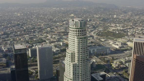 Thumbnail for AERIAL: Close Up of US Bank Skyscraper Top,Helipad in Downtown Los Angeles, California with