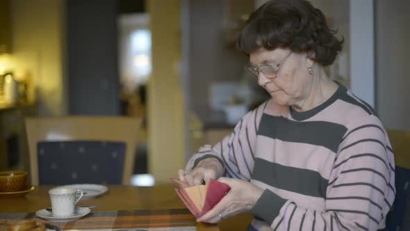 Senior Woman Counting Coins in the Dining Room at Home