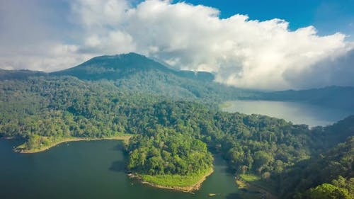 The Twin Lakes Buyan and Tamblingan Are Found in the Mountain Region of the Island of Bali