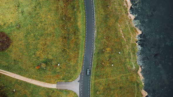Thumbnail for Top View, Drone Flying High Above Black Car Driving Along Autumn Coastline Road Near Beautiful