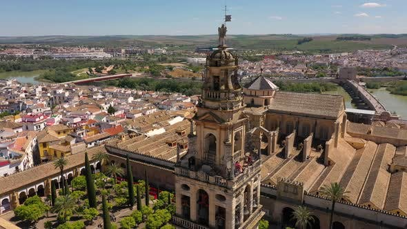 Thumbnail for Aerial view of tourist visiting Cordoba bell tower during the day, Spain.