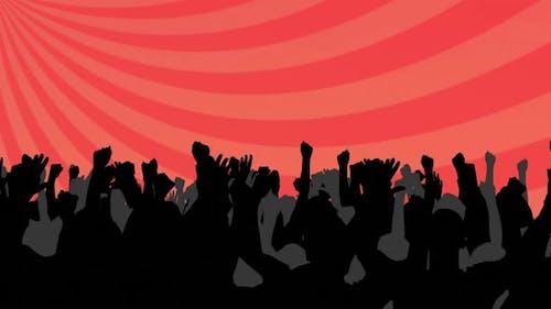 Silhouetten von Menschen, die tanzen und rote Streifen drehen, die sich in einer nahtlosen Schleife bewegen