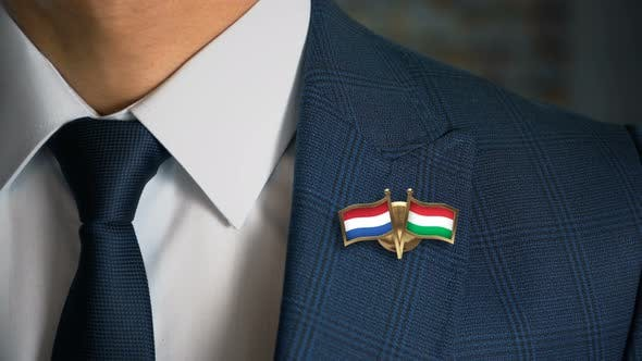 Thumbnail for Businessman Friend Flags Pin Netherlands Hungary