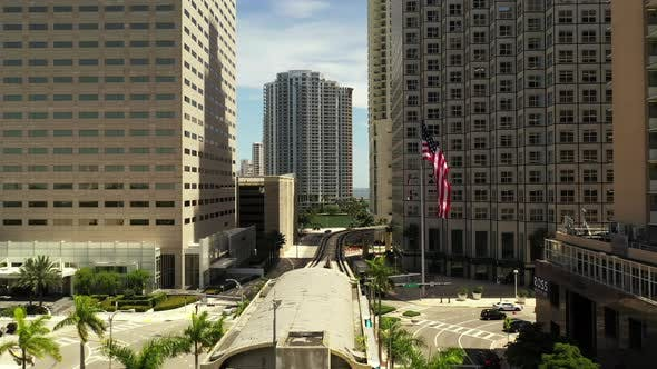 Aerial Video Miami Metrorail Downtown In Motion