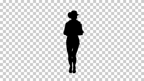 Thumbnail for Silhouette girl holding board and dancing, Alpha Channel