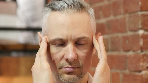 Thumbnail for Headache, Upset Tense Middle Age Man Close Up