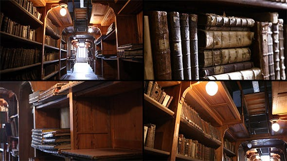 Old Library With Ancient Books