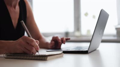 Remote Study Online Education Woman Taking Notes