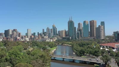 Melbourne City Australia and Yarra River Aerial Reveal