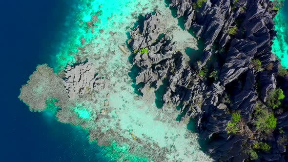 Cover Image for Aerial Views on Beautiful Emerald Twin Lagoons in Coron Island, Palawan, Philippines