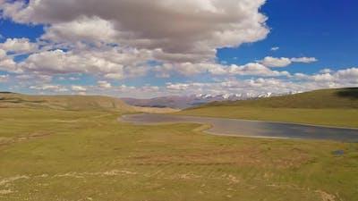 Grassland and lake