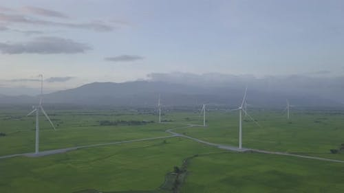 Wind turbineorwindmill in a greenfield, Energy Production with clean and Renewable Energy