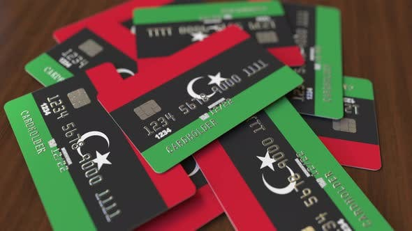 Bank Cards with Flag of Libya