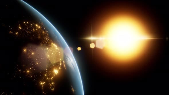 Thumbnail for Amazing Sunrise Over The Earth. View Of Planet Earth From Space