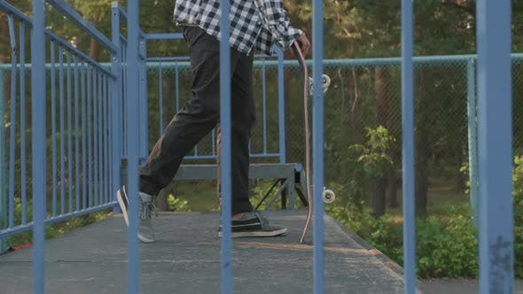 Skater Dropping-in on Ramp