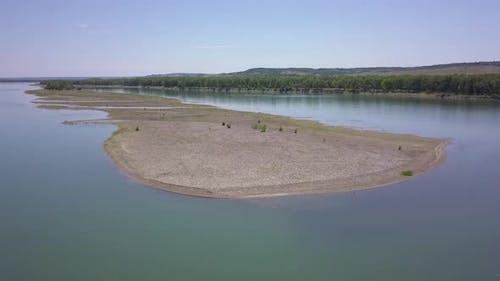 Missouri River Sandbar in Great Plains in Summer