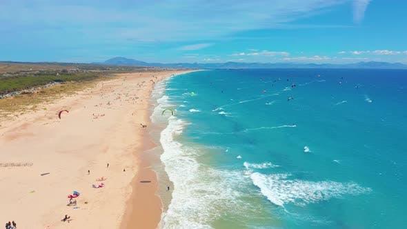 Thumbnail for Aerial View. Kite Surfing in Blue Ocean, Kitesurfing From the Sky in Hyperlapse