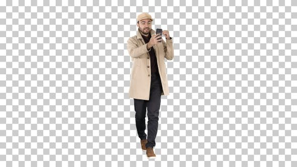 Thumbnail for Autumn fashion style man recording video, Alpha Channel
