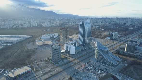 Thumbnail for Wide View of Sofia City Highways and Modern Buildings. Vitosha Mountain in the Background