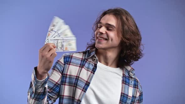 Satisfied Man with USD Currency