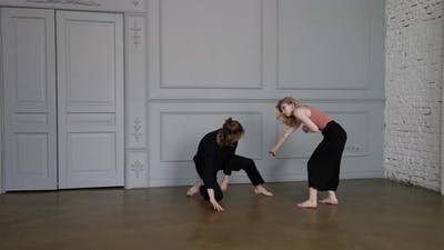 Talented Young Dancers are Dancing in Hall Performing Contemporary Dance