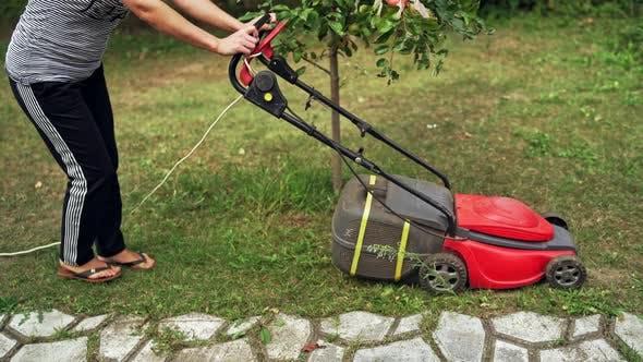 Thumbnail for Garden meadow lawn cutting. Lawn mower cutting green grass in backyard