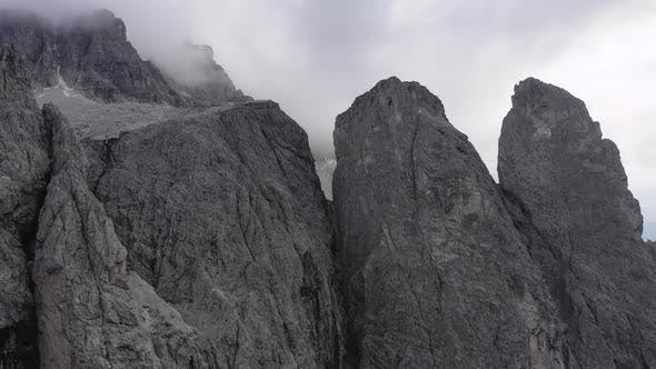 Aerial View of the Paso Gardena Pass in the Province of Bolzano. Dolomites. Flying Near the Sella