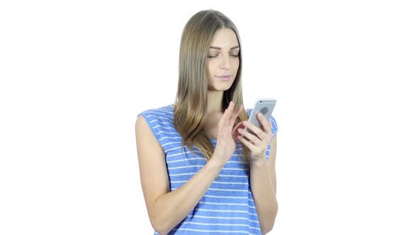 Cover Image for Woman Using Smartphone, White Background