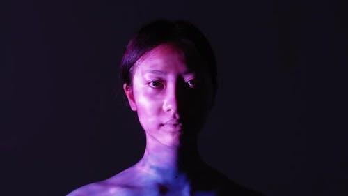 Spiritual Enlightenment Pink Peaceful Asian Woman