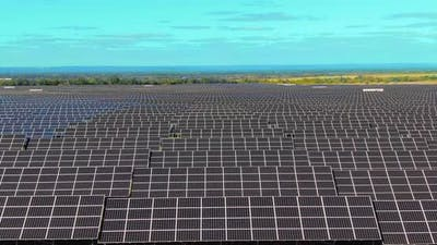 Closeups of Solar Panels in a Row Innovative Systems for Converting Solar Energy Into Electricity