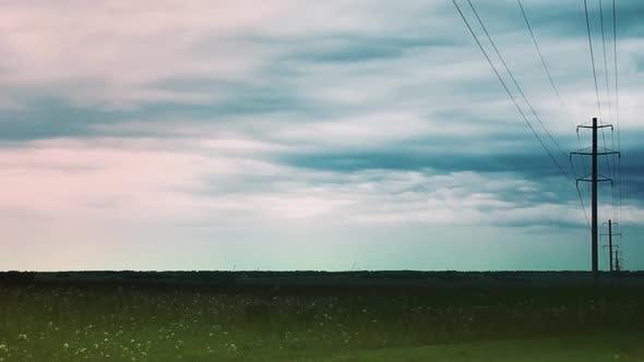 Storm Begins in Field Timelapse