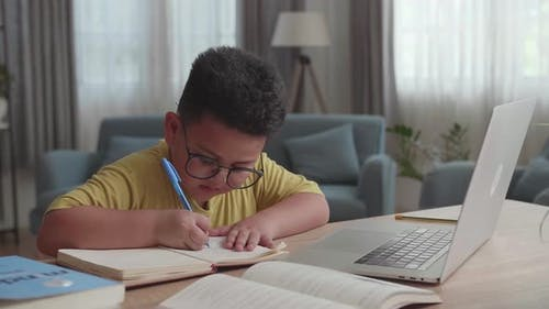 Asian Little Boy Study Online From Home. Child Use Laptop Makes Notes