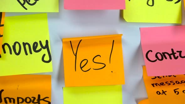 Thumbnail for Sticker with the Word Yes Stick on a White Board