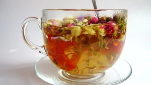 Tea from arid petals flowers