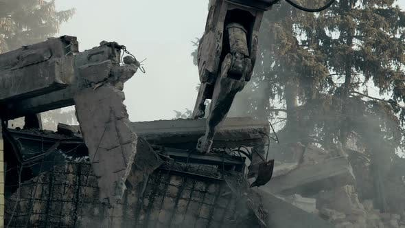 Thumbnail for Strong Demolition Machine Removing House Ruins, Cleaning Up Earthquake Aftermath