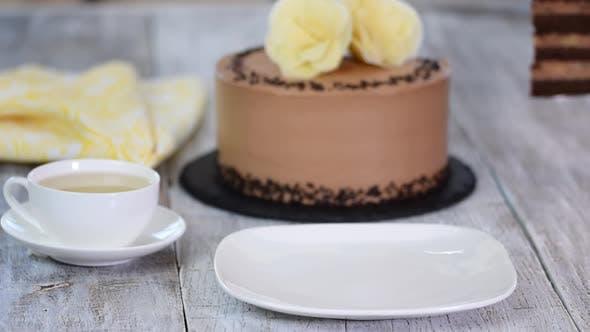 Delicious homemade chocolate banana cake