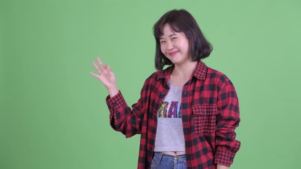 Thumbnail for Happy Asian Hipster Woman with Ok Sign