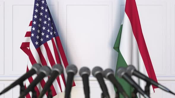 Flags of the United States and Hungary at International Meeting