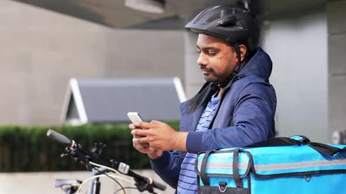 Delivery Man with Bag Smartphone and Bicycle