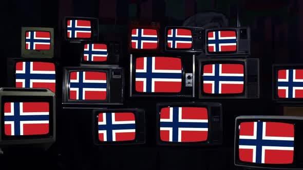 Thumbnail for Flag of Norway on Retro TVs.