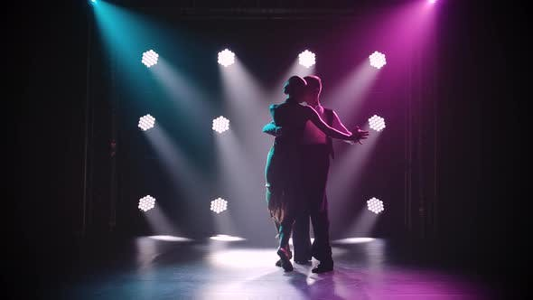 Silhouettes of a Sensual Couple Performing an Artistic and Emotional Dance. Dance Element From Tango