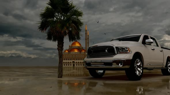 Luxury Pickup Standing in Front of the Grand Mosque