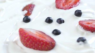 Delicious Dessert of Berries and Ice Cream