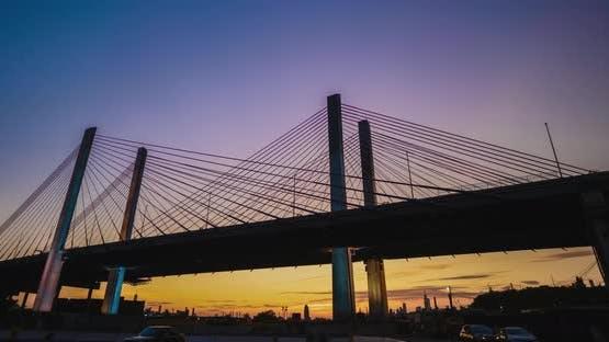 Sun Set Kosciuszko Bridge in New York City
