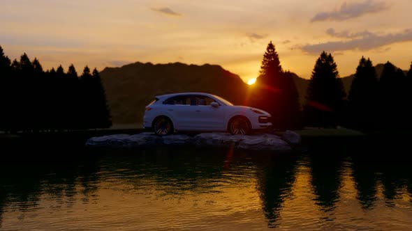 Thumbnail for White Luxury Off-Road Vehicle Standing on Rocks at Sunset